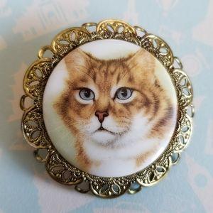 Vintage orange cat brooch tiger white gold pin